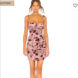 LPA Floral Dress with tie straps and ruching